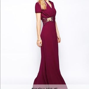 Jarlo Maxi Dress With Cap Sleeve and Lace Insert